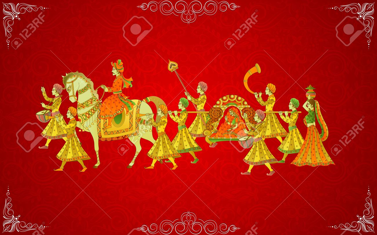 Easy To Edit Vector Illustration Of Indian Wedding Card Royalty Free ...