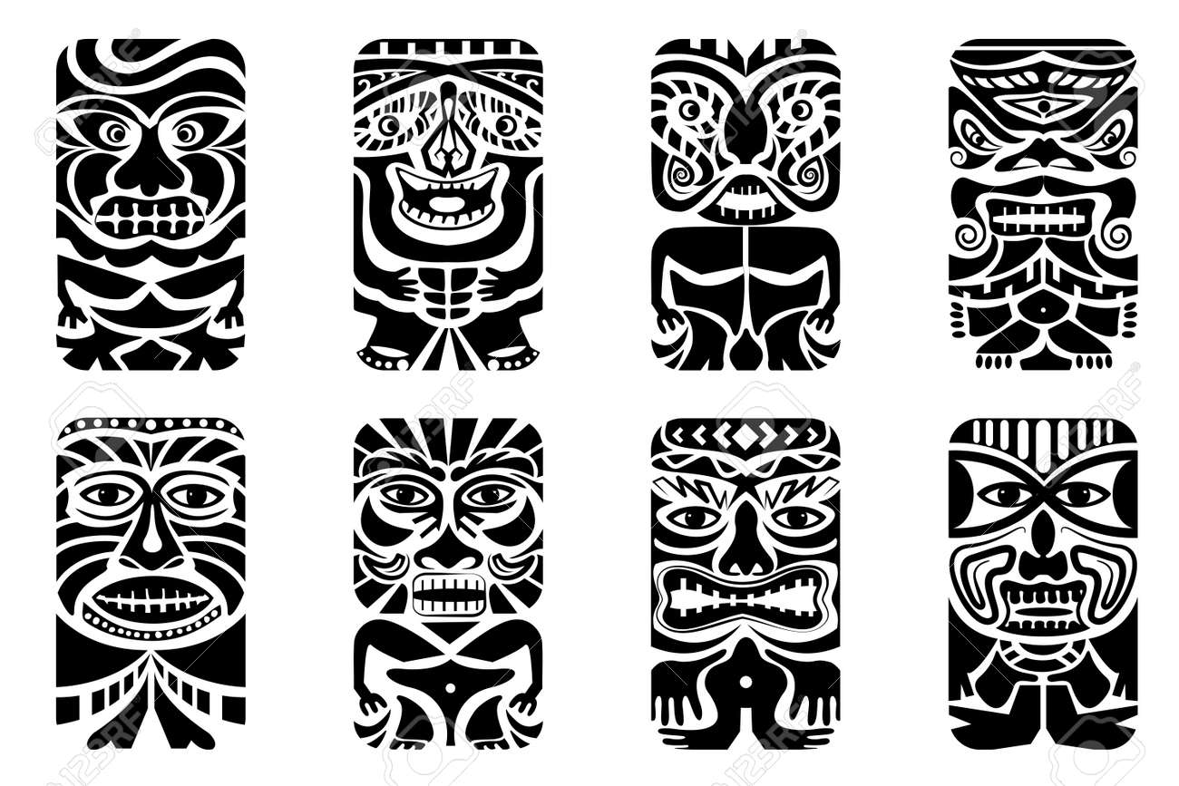 Easy To Edit Vector Illustration Of Tiki Mask Royalty Free Cliparts ...