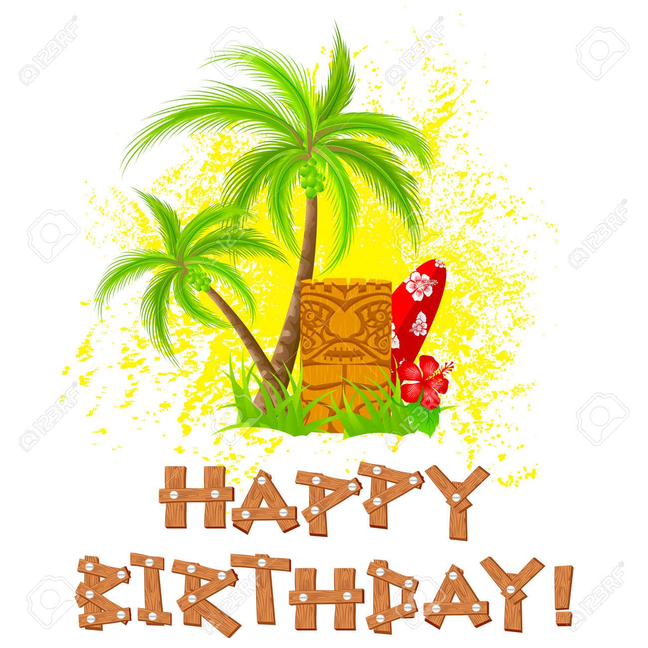 Easy To Edit Vector Illustration Of Tiki Happy Birthday Stock