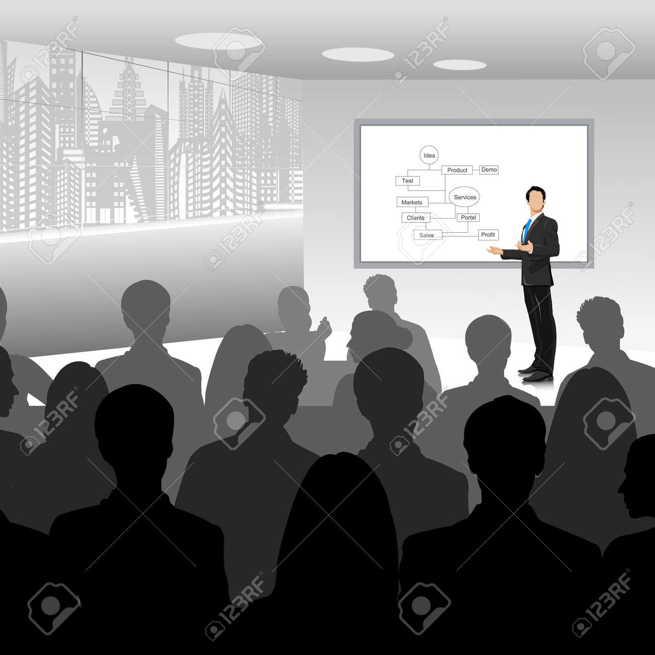 easy to edit vector illustration of businessman giving presentation Stock Vector - 26266188