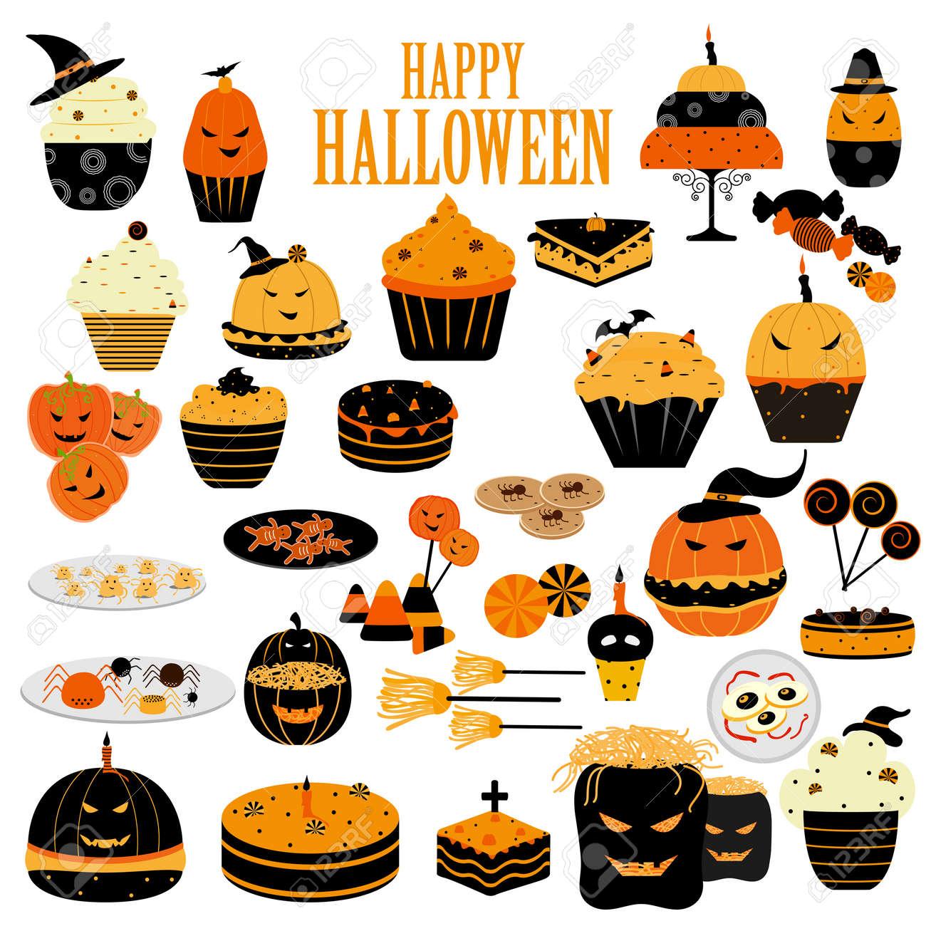 Einfache Vektor-Illustration Von Leckeren Happy Halloween Gruselig ...