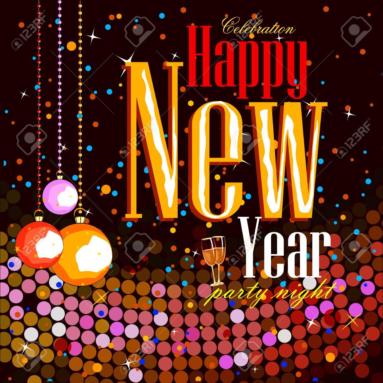 Einfach, Vektor-Illustration Von Happy New Year Party Feier Poster ...