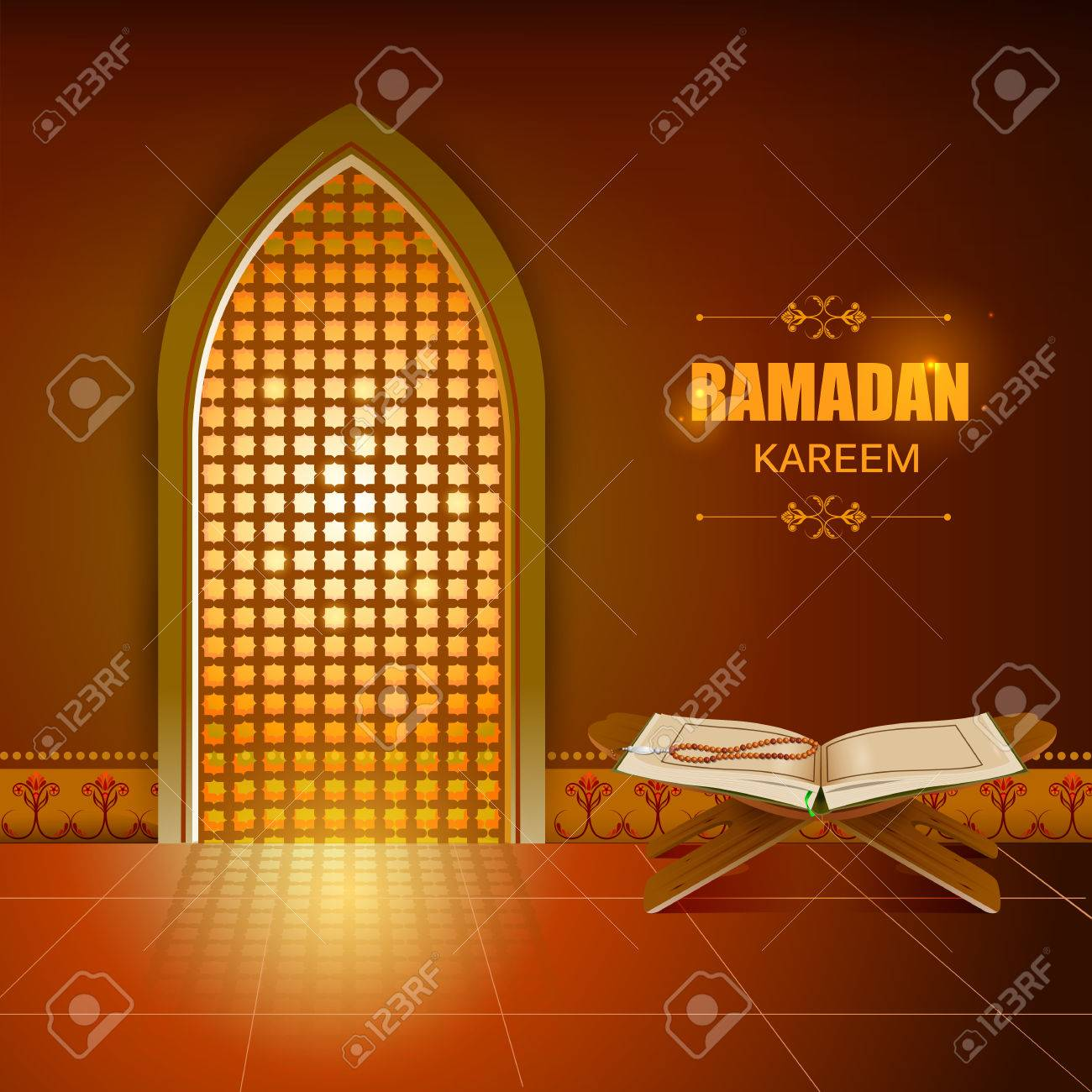 Islamic Design Mosque Door And Window For Ramadan Kareem Happy Eid  Celebration Background Stock Vector