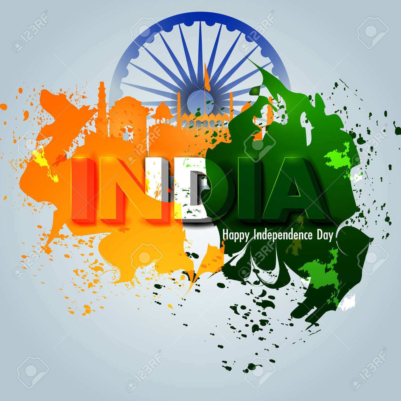 Ashoka Chakra On Happy Independence Day Of India Background Royalty