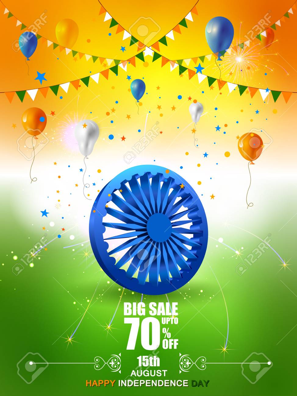 Indian Flag on Happy Independence Day of India Sale and Promotion