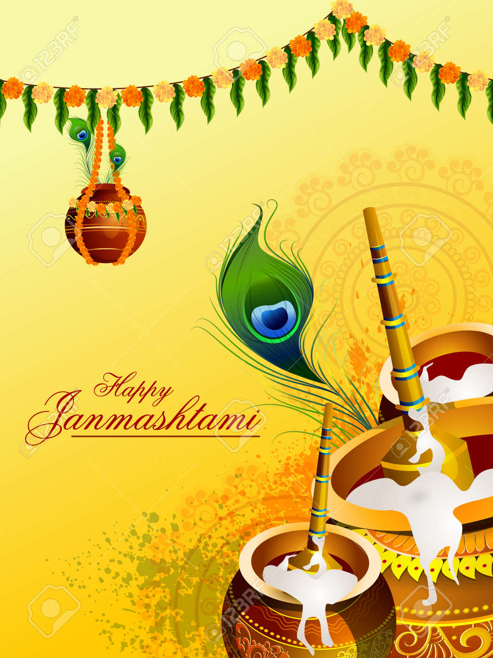 Happy Krishna Janmashtami Greeting Background Royalty Free Cliparts Vectors And Stock Illustration Image 83176413
