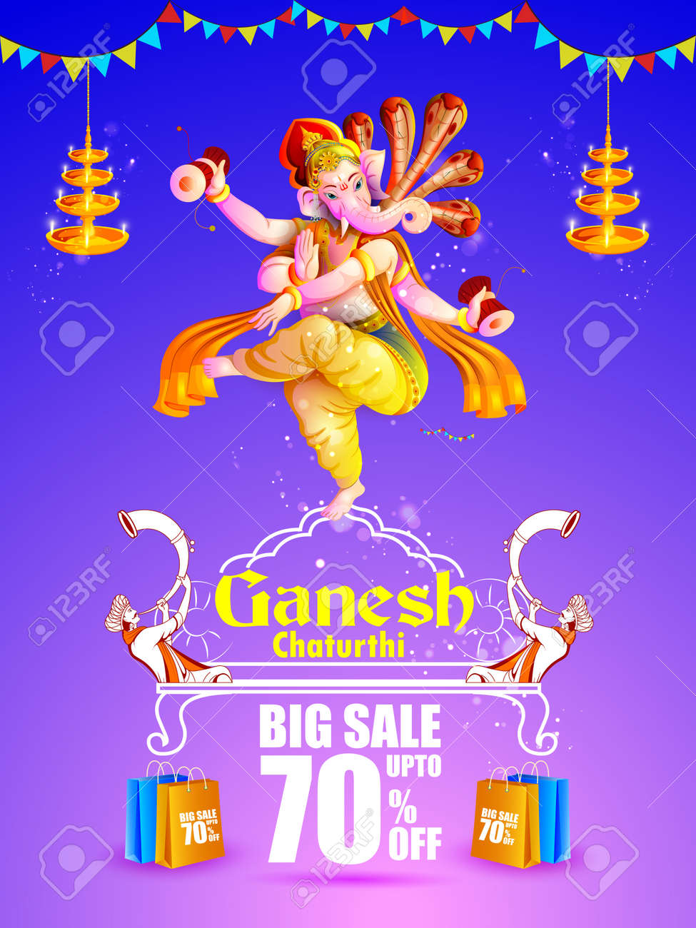 Lord Ganpati On Ganesh Chaturthi Sale Promotion Advertisement Background Stock Vector