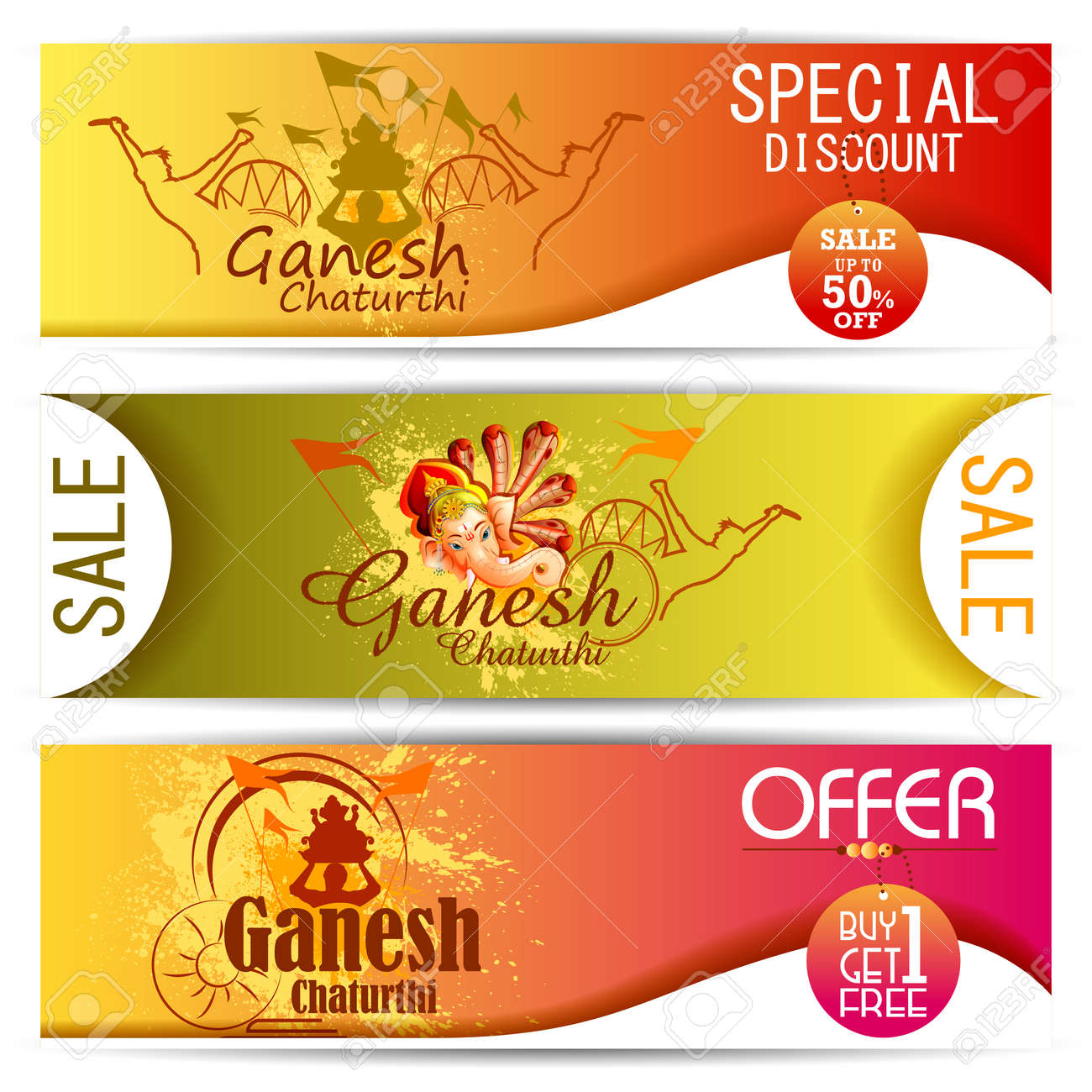 set of colorful banner of lord ganpati on ganesh chaturthi