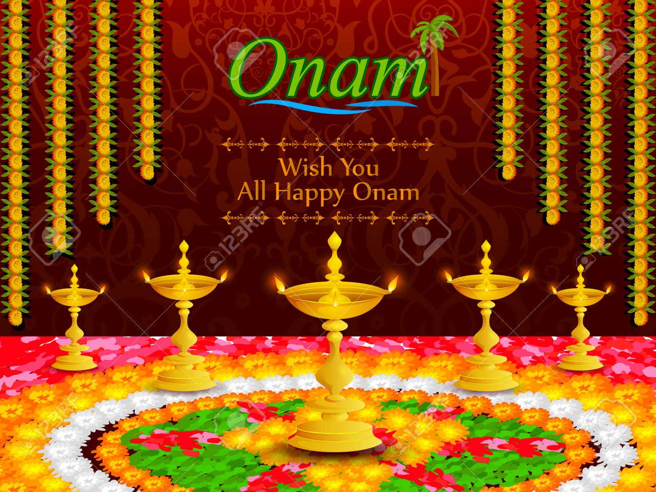 Colorful Pookalam Flower Rangoli For Onam Festival Of Kerala Stock Vector