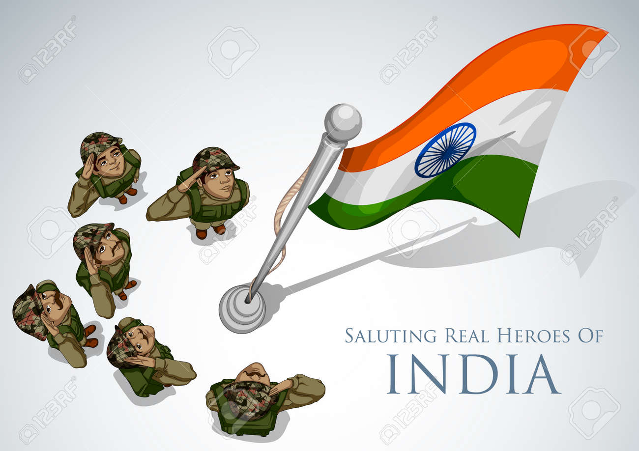 Indian Army Soldier Saluting Flag Of India With Pride Royalty Free