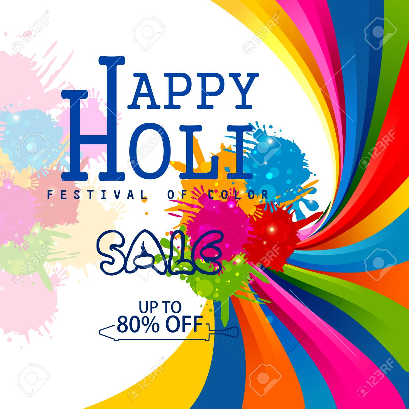 Colorful Happy Hoil Sale Promotion Shopping Advertisement Background For Festival Of Colors In India Stock Vector