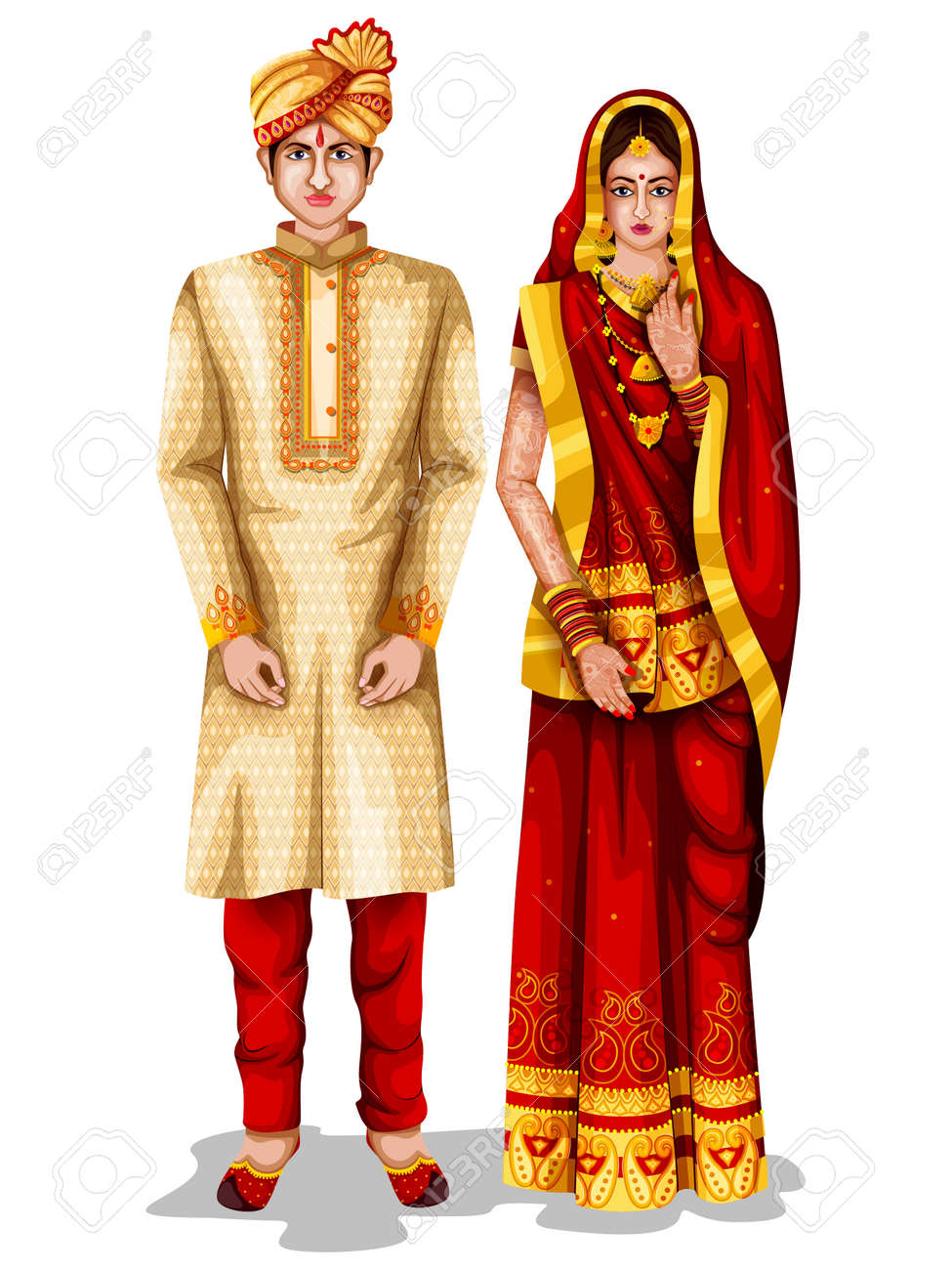 a98b0bc469 easy to edit vector illustration of Bihari wedding couple in traditional  costume of Bihar, India