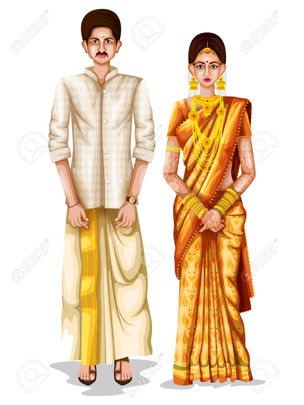Easy To Edit Vector Illustration Of Keralite Wedding Couple In Traditional Costume Kerala India