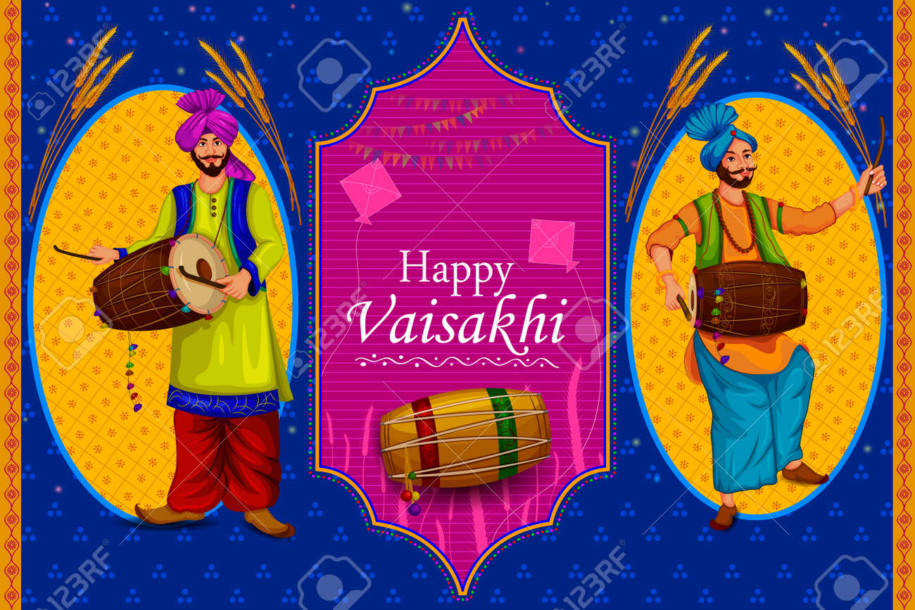 happy vaisakhi punjabi religious holiday background for new year festival of punjab india in vector stock