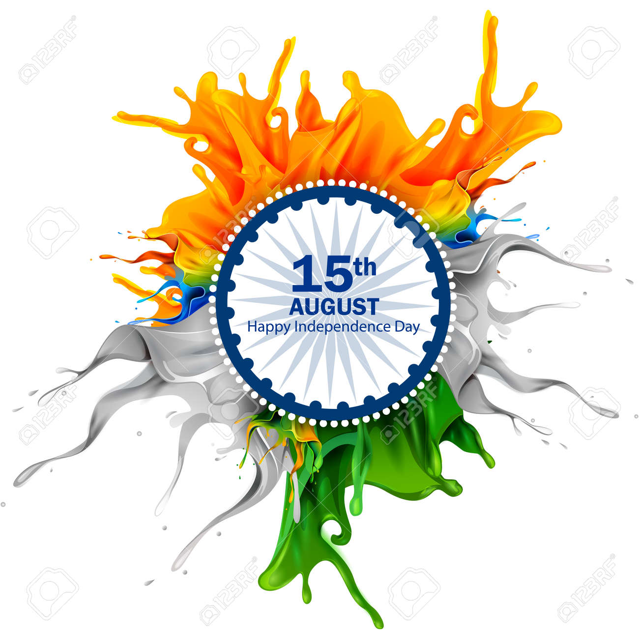 easy to edit vector illustration of splash of Indian Flag on Happy Independence Day of India background - 105875443