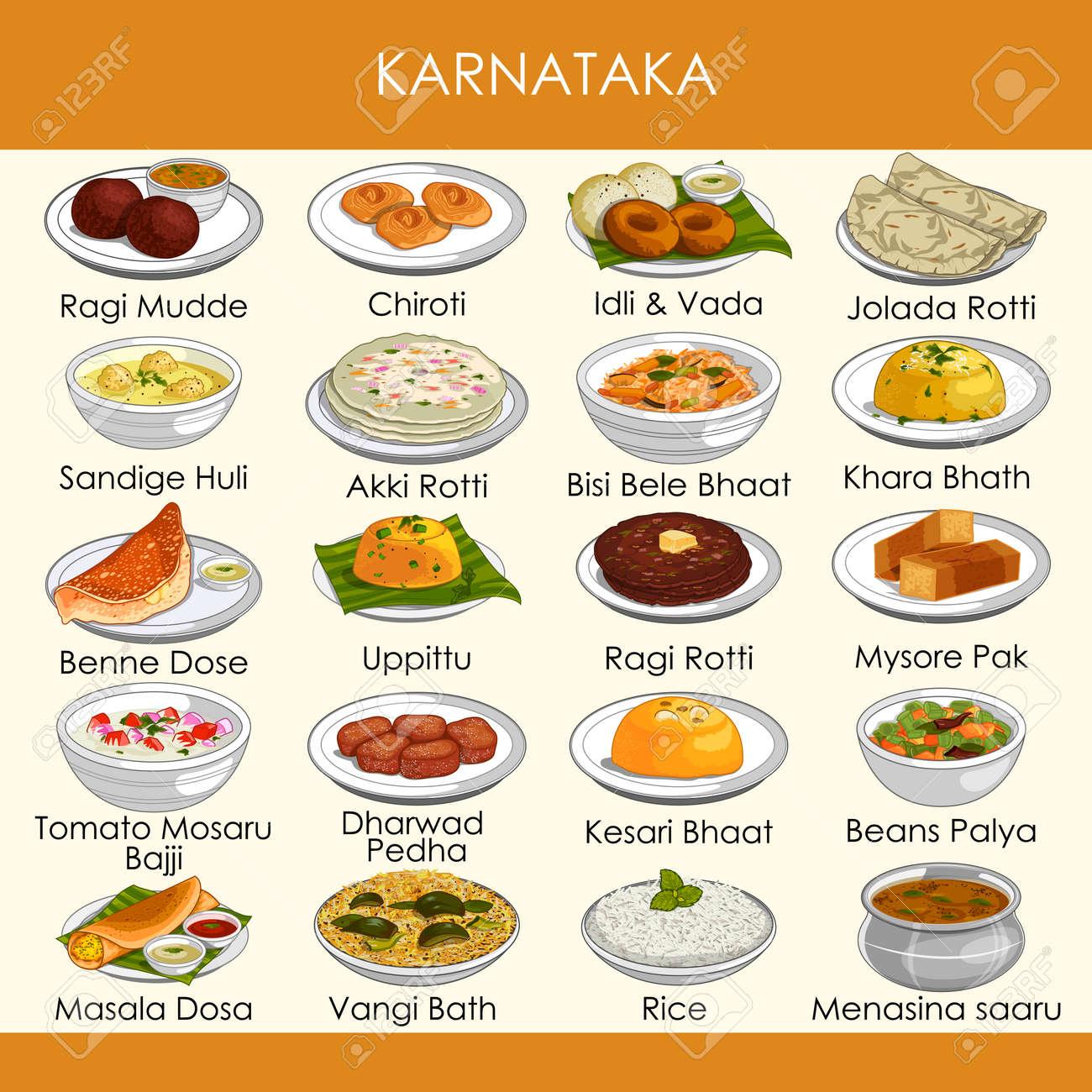 illustration of delicious traditional food of Karnataka India - 117399412