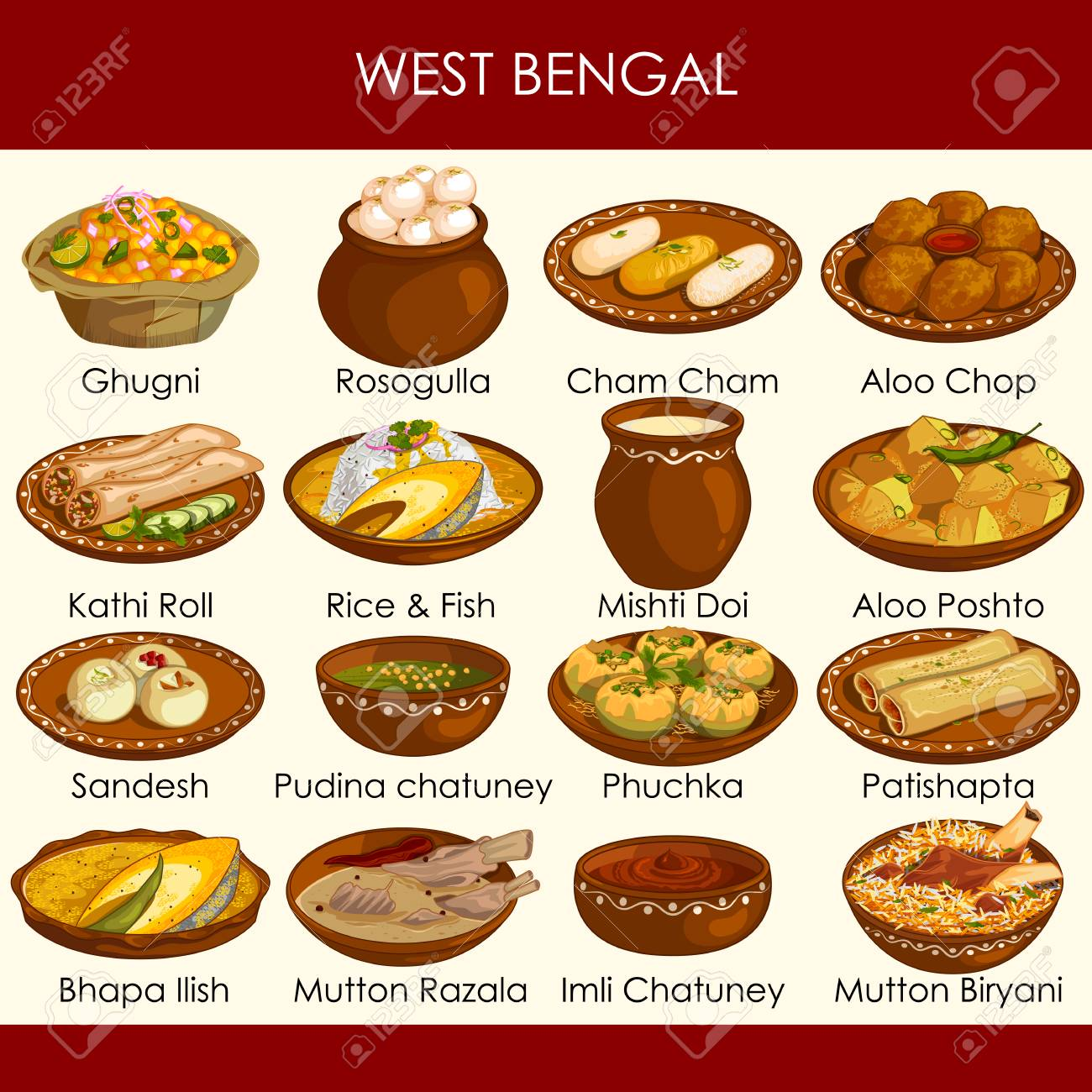 illustration of delicious traditional food of West Bengal India - 117399438