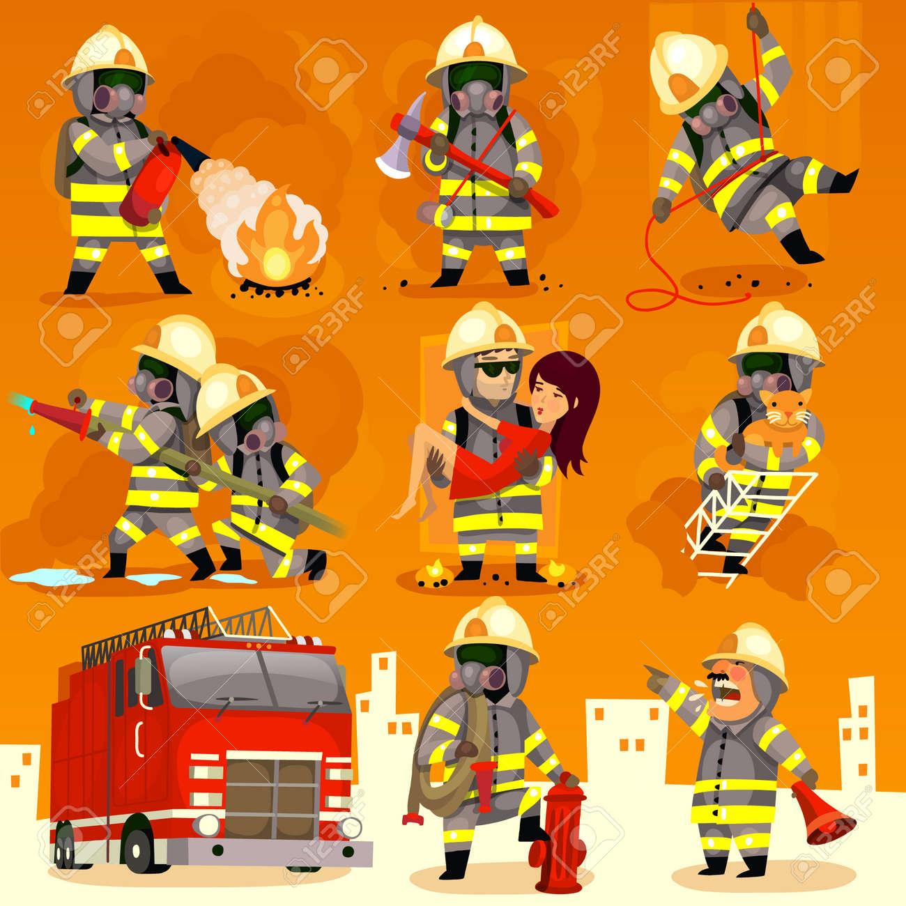 Set of cartoon fireman doing their job and saving people. - 35049176