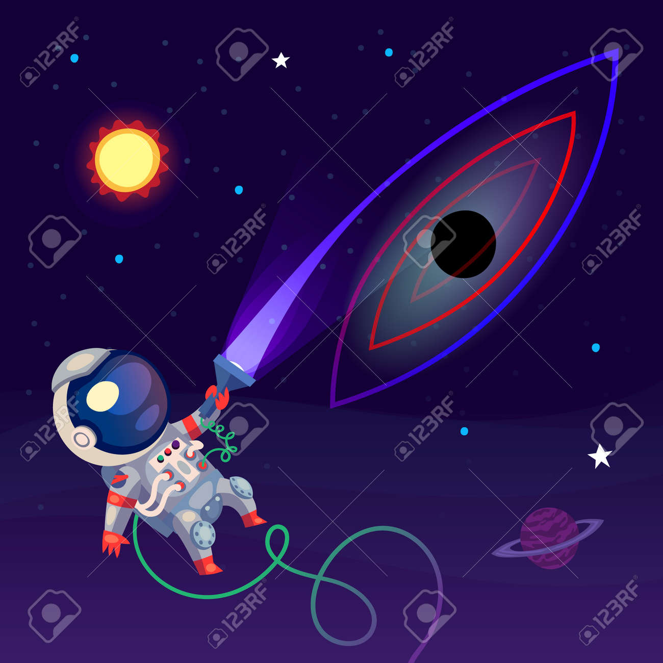 An Astronaut In The Open Space Is Looking At A Black Hole With Royalty Free Cliparts Vectors And Stock Illustration Image 55846524