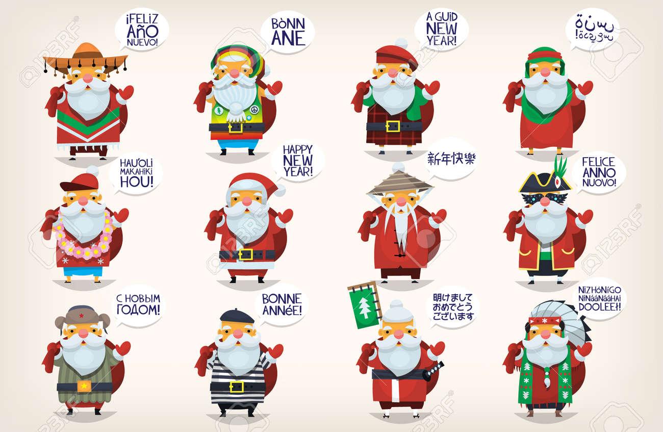 Per Tutto Il Mondo E Natale.Babbi Natale Carino Classico Babbo Natale E Andato In Vacanza In Tutto Il Mondo Saluto Persone E Augurando Loro Felice Anno Nuovo Santas Isolati