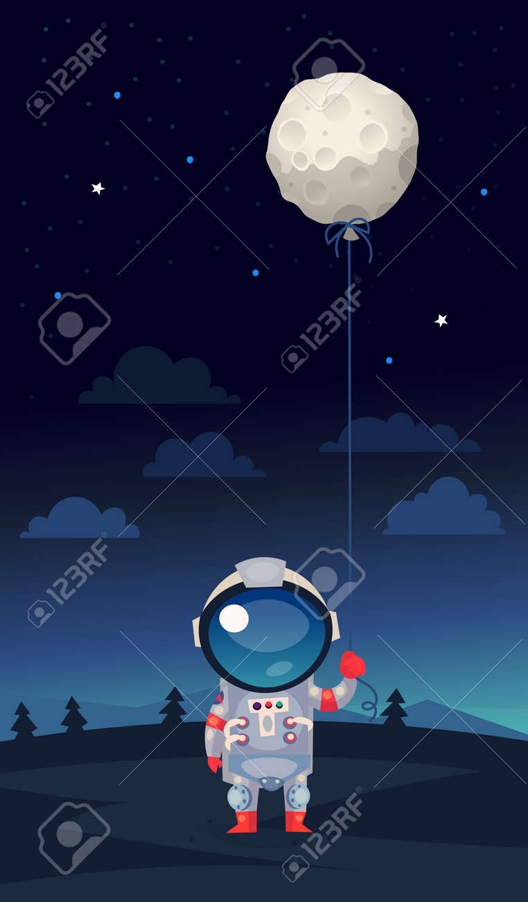 Astranaut in a spacesuit standing on earth holding balloon shaped like the moon in his hand - 72297596