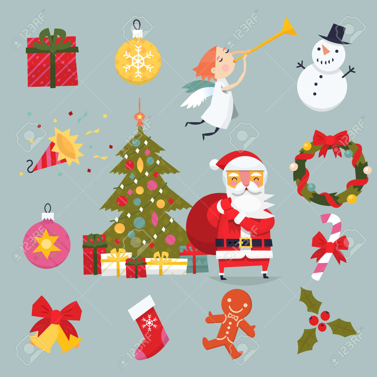 Set Of Elements And Illustrations For Creating Christmas Cards