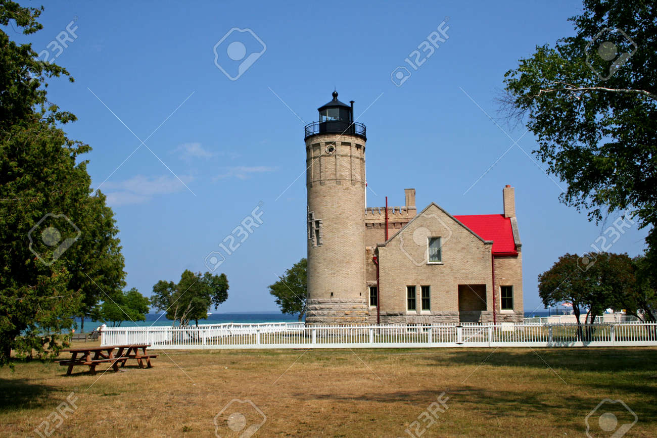 mackinac light house complex with sky back ground Stock Photo - 1289500