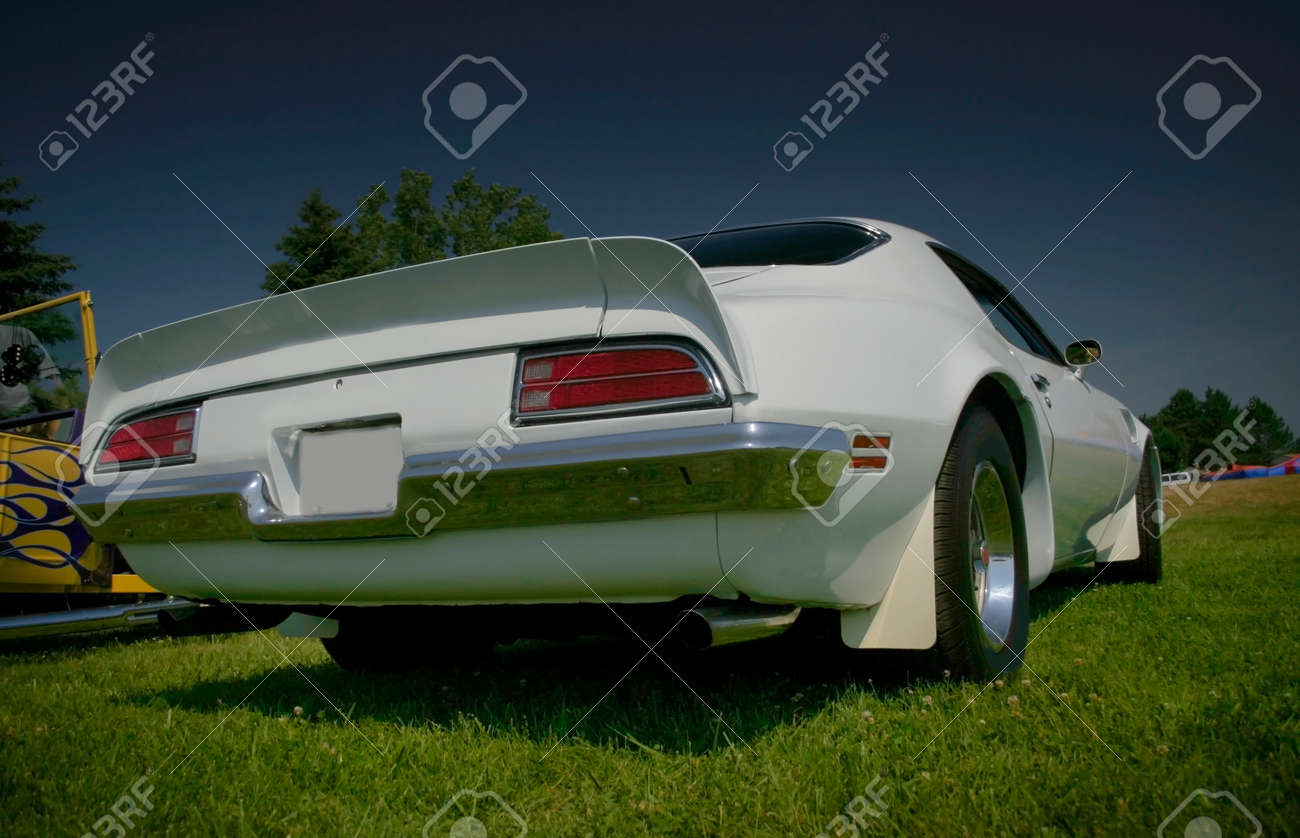 White Muscle Car Rear End Wide Angle Shot Stock Photo Picture And