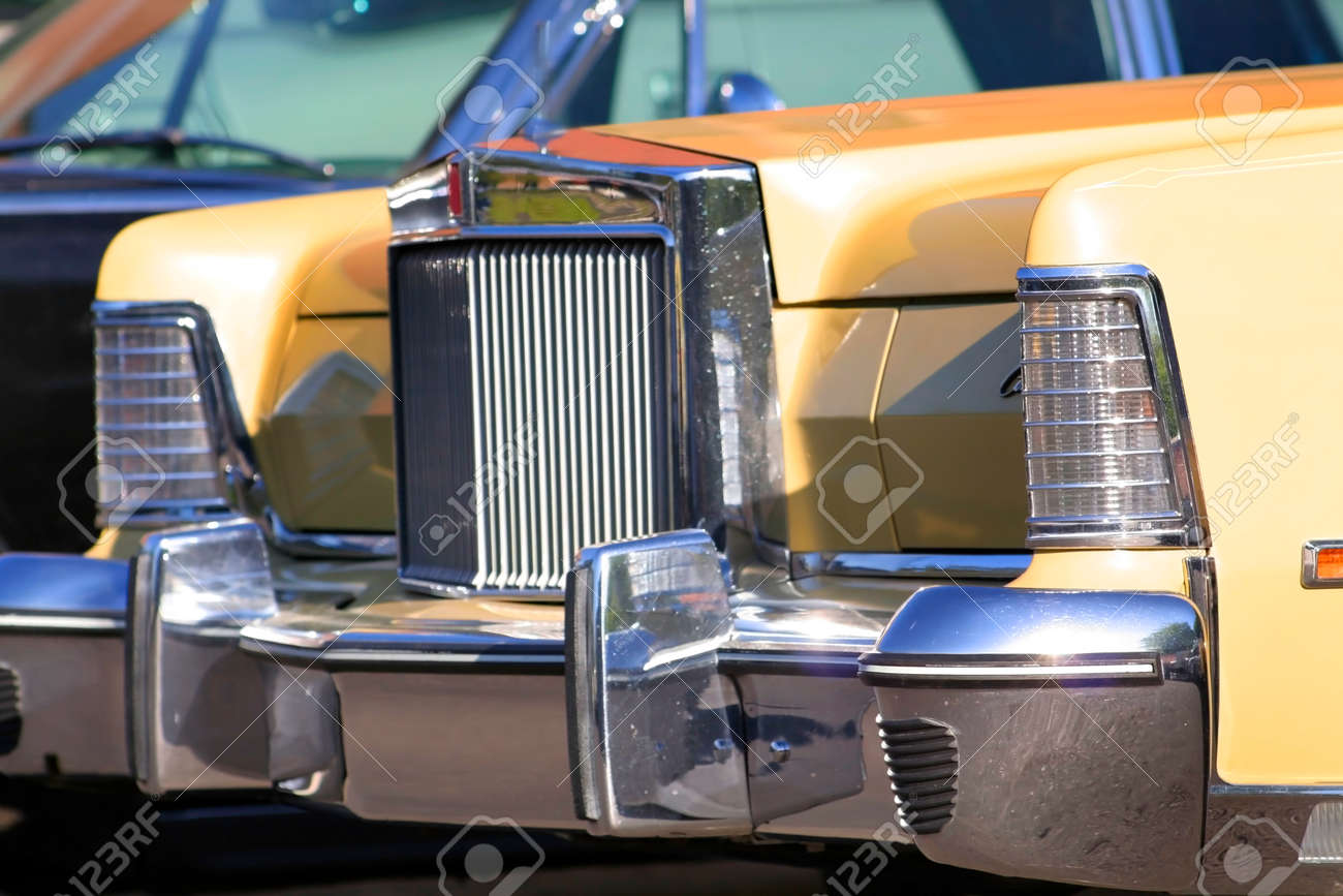 Old Lincoln Car Front End With Shiny Grill Stock Photo Picture And