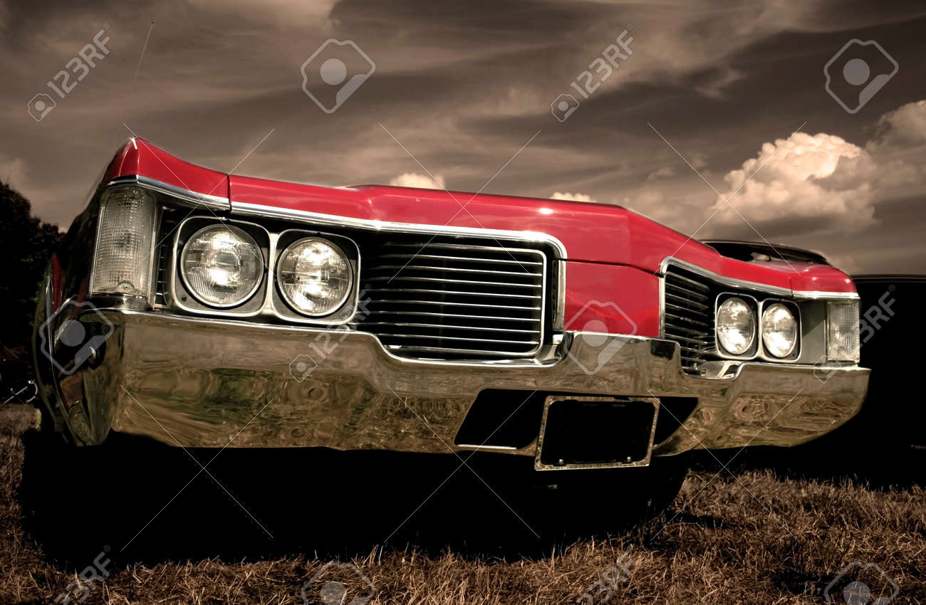 Red American muscle car with sepia color tone Stock Photo - 1667455