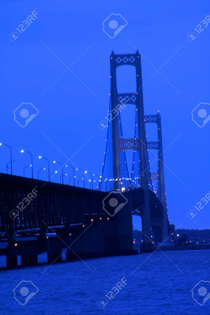 Mackinac Bridge Is A Longest Bridge In USA Shot In The Night - Longest bridge in the usa