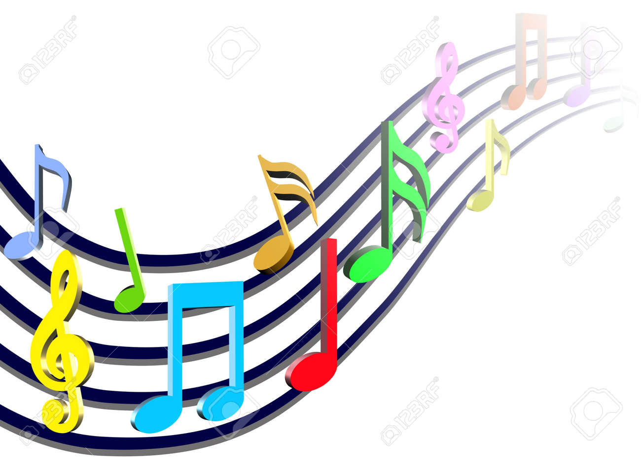 colorful music notes illustration stock photo picture and royalty rh 123rf com cartoon musical notes clipart cartoon musical notes images