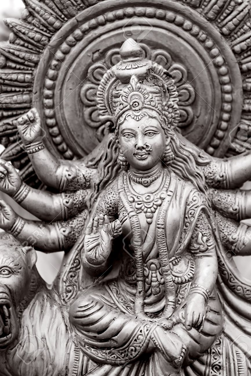 Hindu Goddess with many hands in Black and white Stock Photo - 5349998