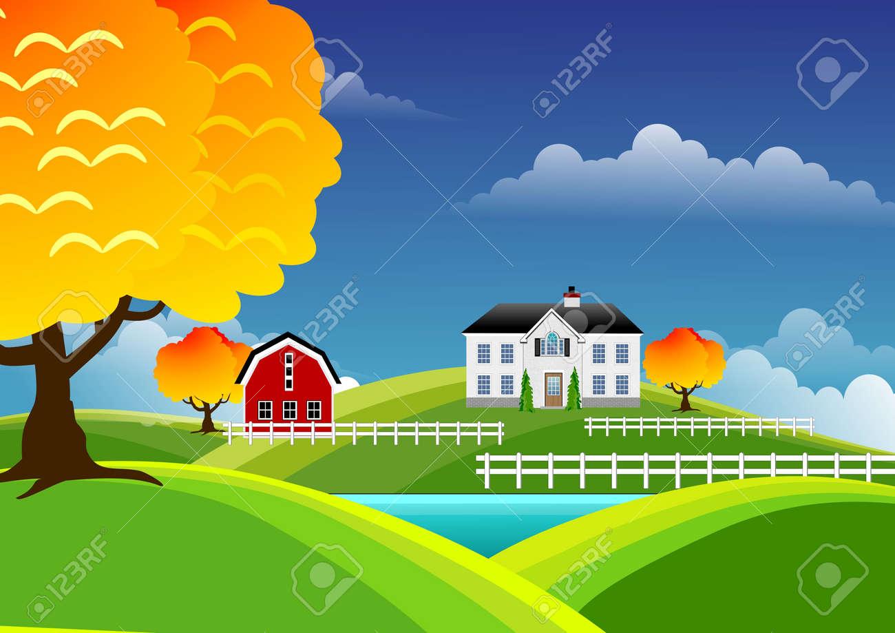 Scenic farm landscape Stock Photo - 6333813