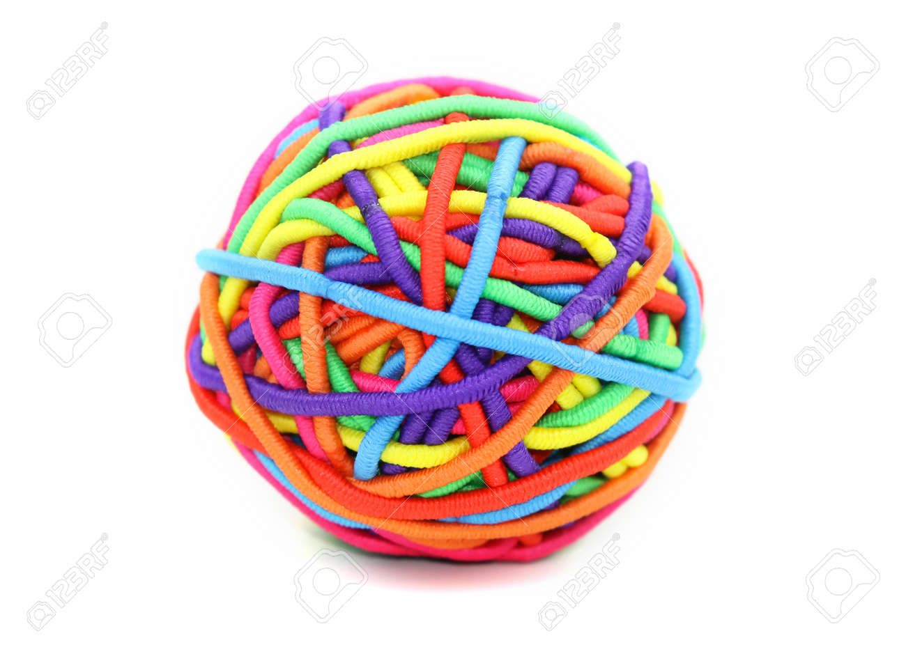 Colorful ball made up of girl's rubber bands Stock Photo - 8667300