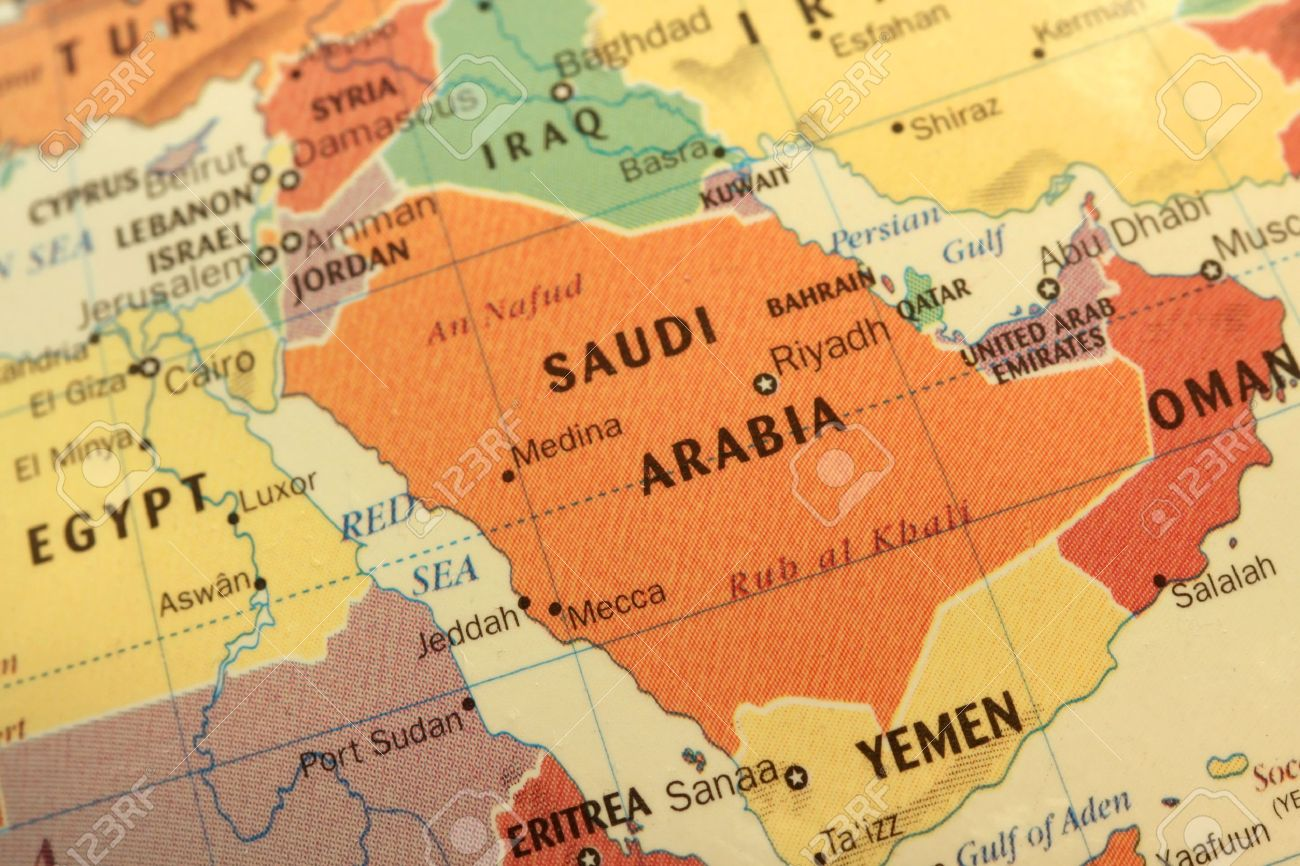 Map Of Saudi Arabia And Gulf Countries On Globe Stock Photo - Map of the globe with countries