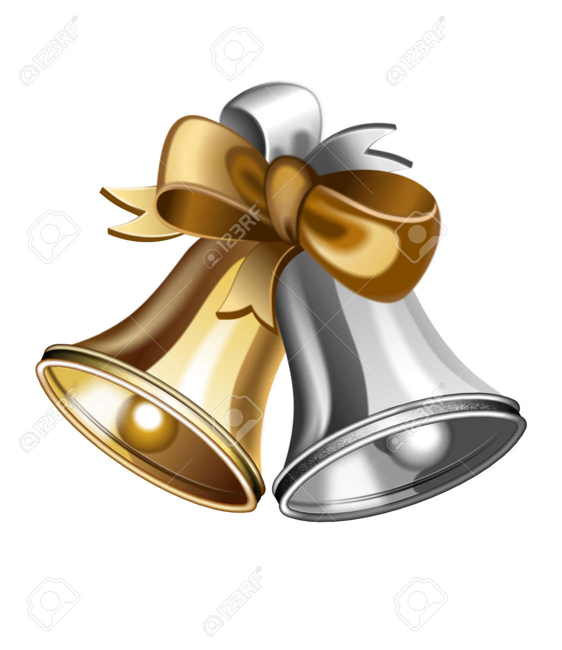 illustration of shiny golden and silver jingle bells Stock Illustration - 9008673