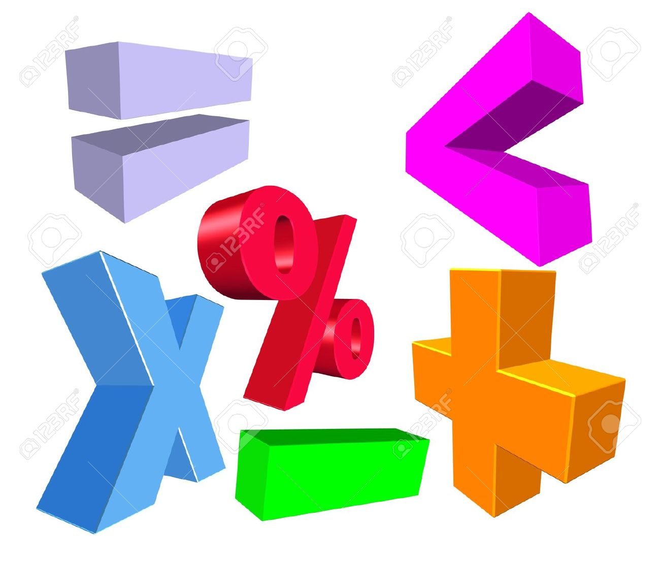 Illustration Of 3d Colorful Math Symbols Stock Photo Picture And