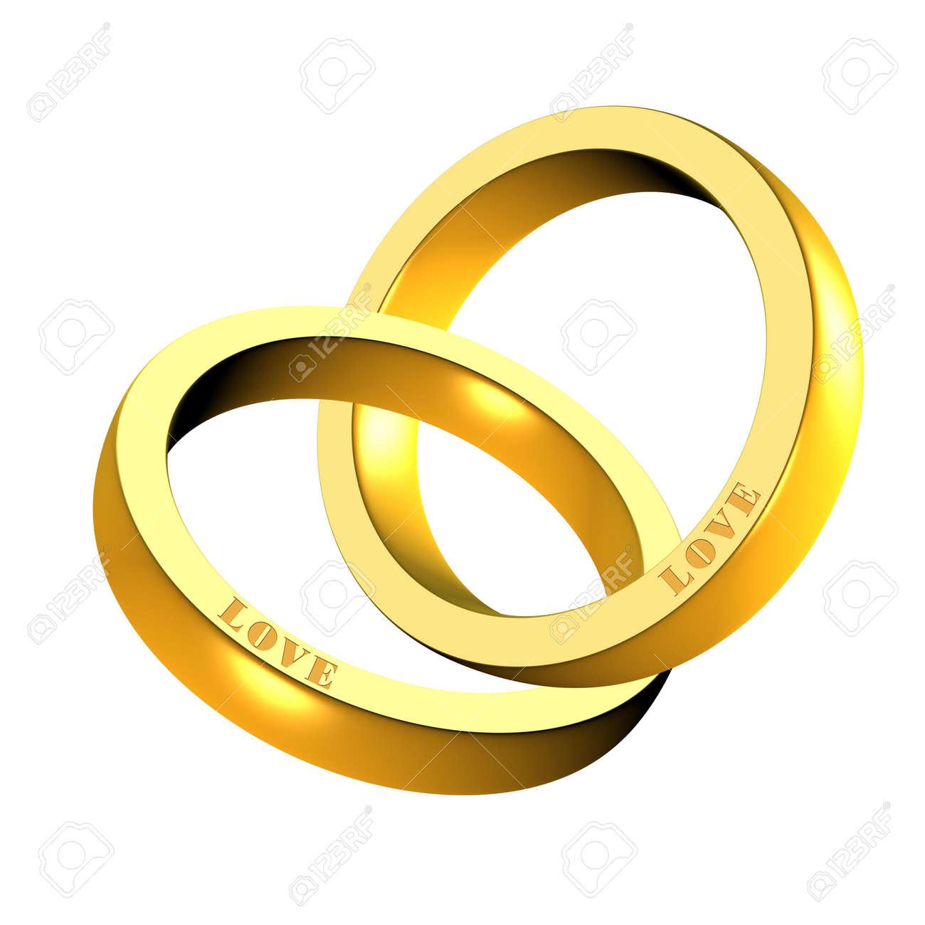 An illustration of 3d shiny golden rings Stock Photo - 9141821