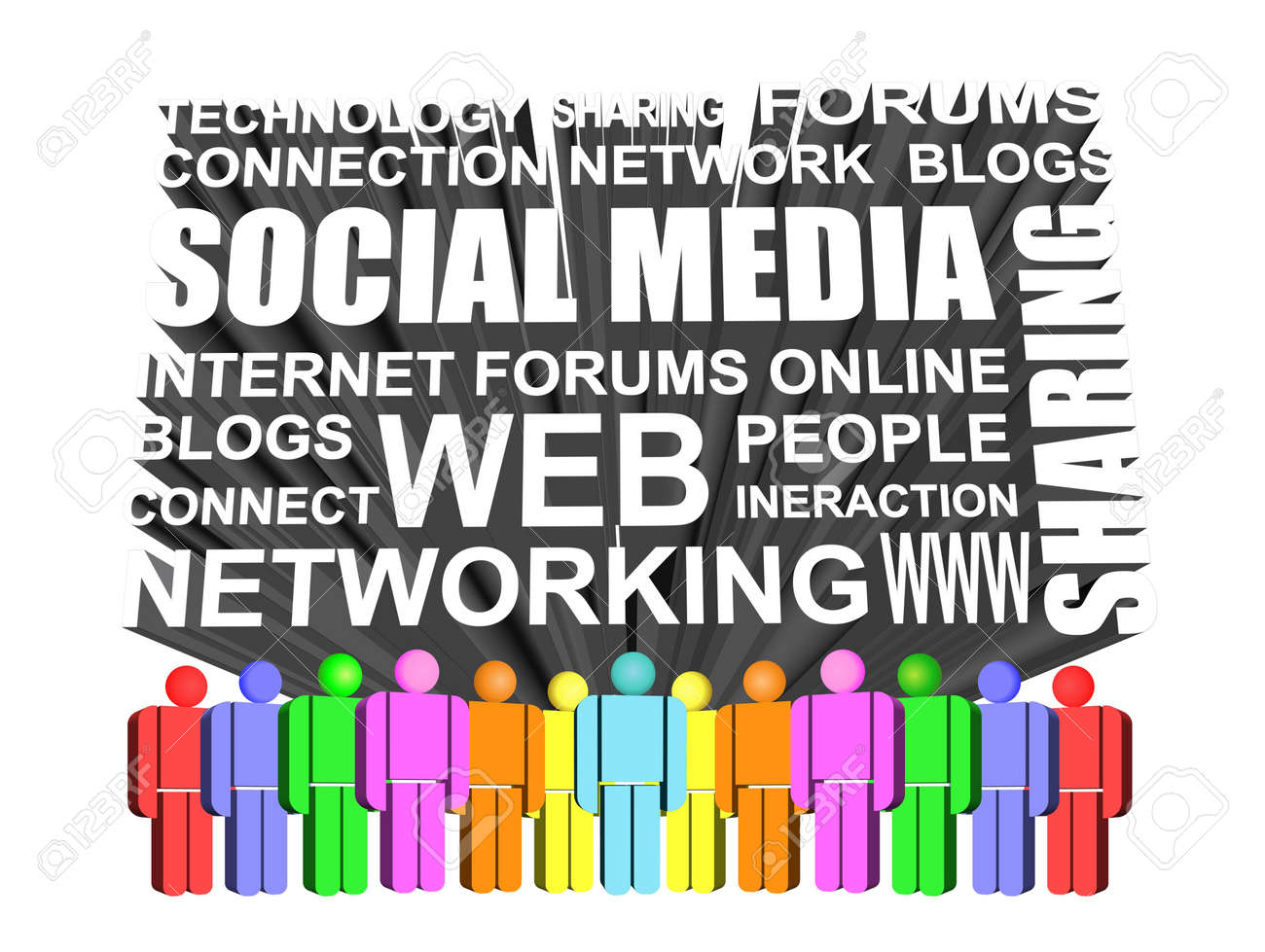 3d Icon of social media and networking icon Stock Photo - 9435485