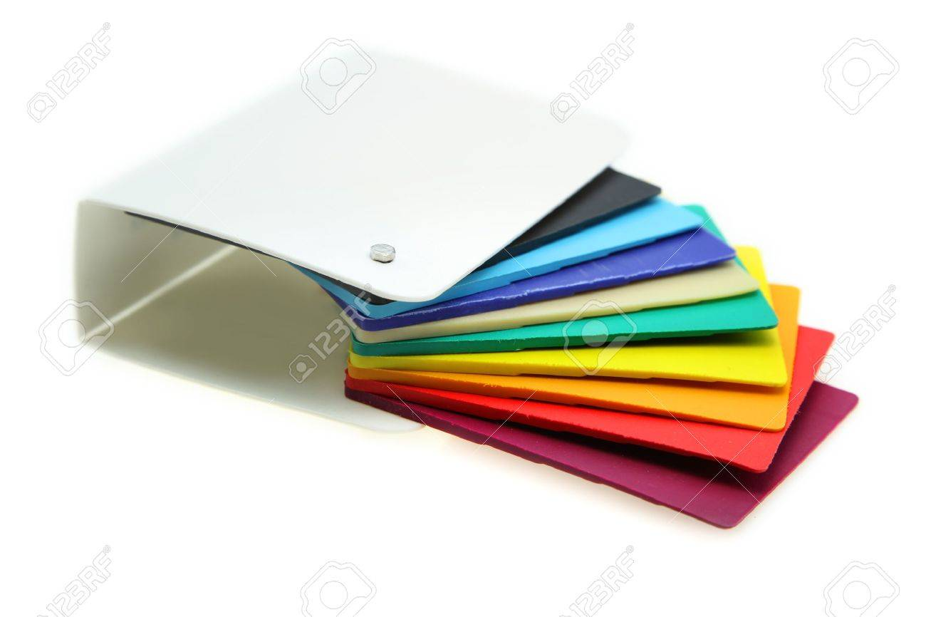 Interior Design Material Swatch Different Plastic Samples On White Background Stock Photo