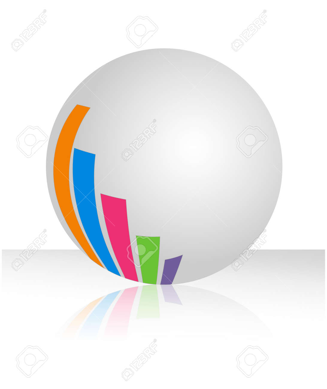An illustration of white ball with colorful bar chart Stock Illustration - 12034908
