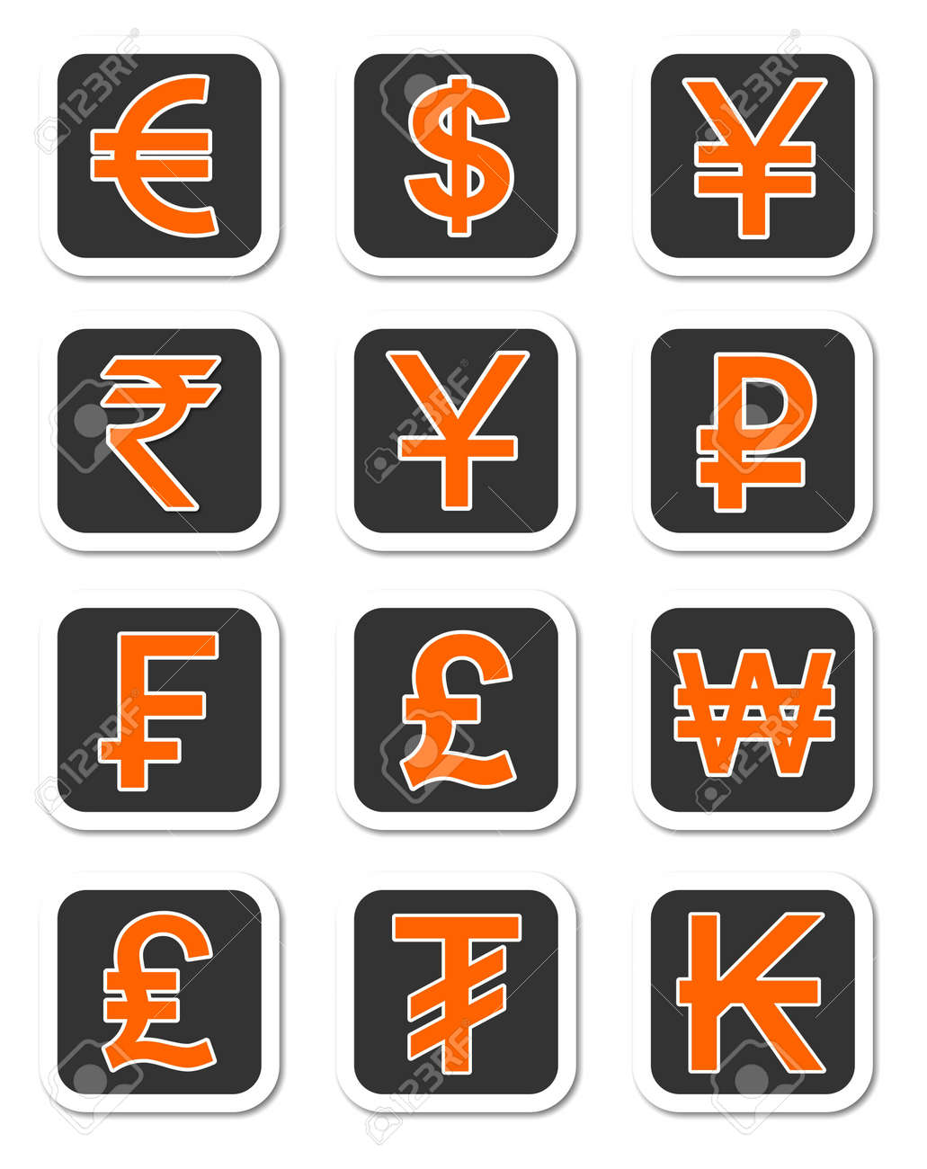 An Illustration Of Major Currency Symbols Of Different Countries
