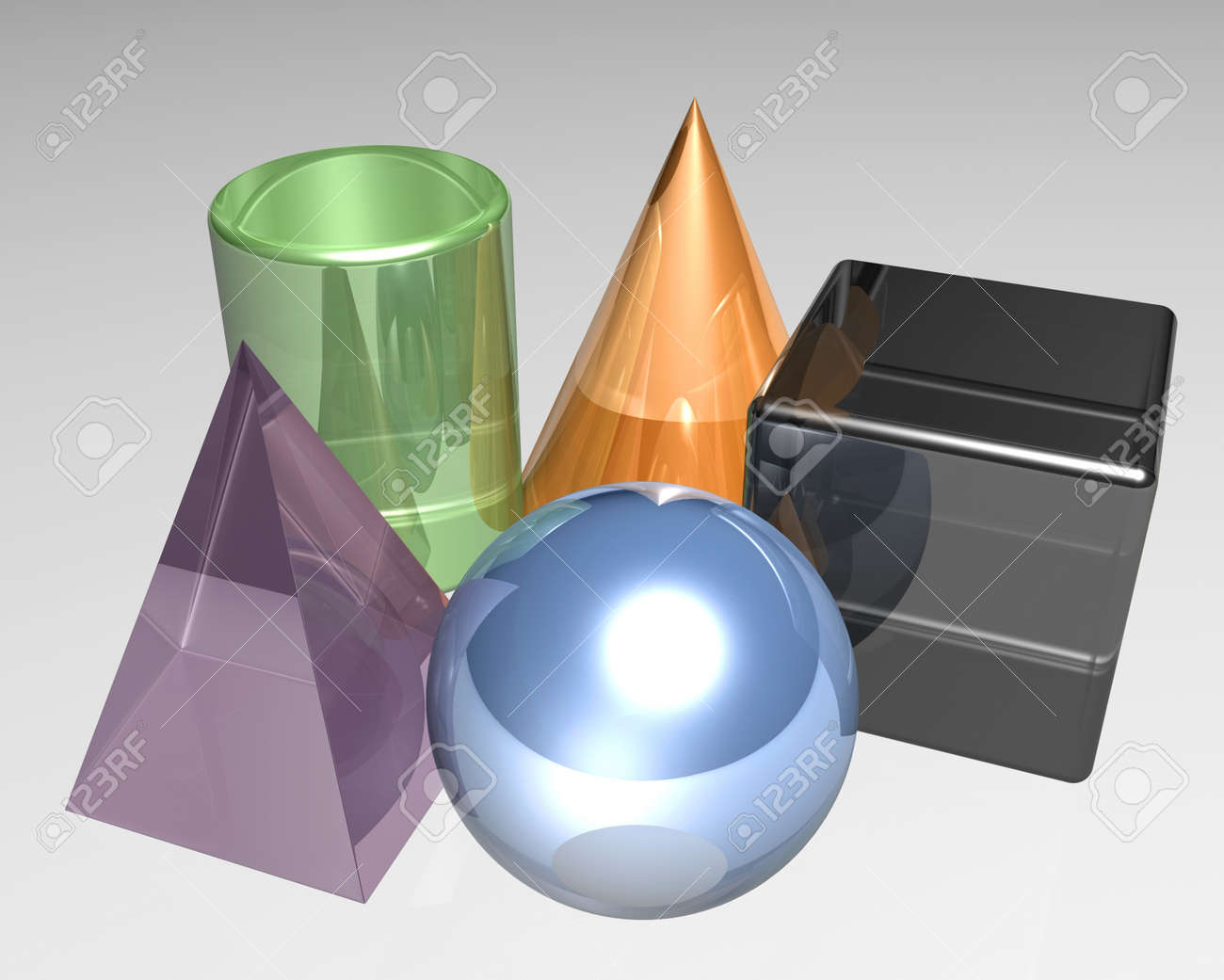 Five different 3d shapes in the color Stock Photo - 13259489