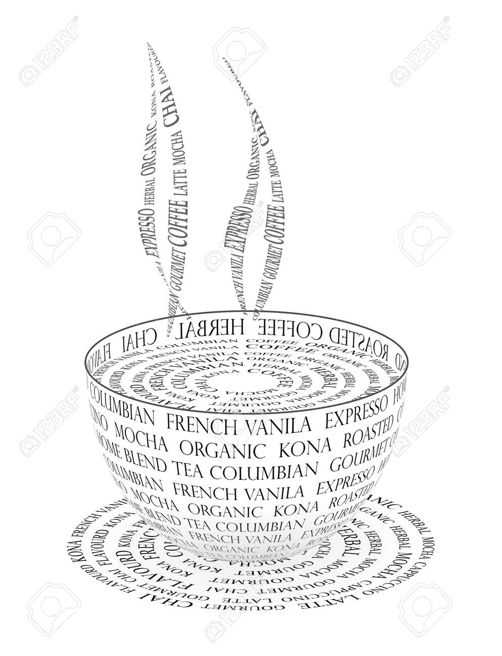 An Illustration Of Coffee Cup Made With Text Stock Photo, Picture ...