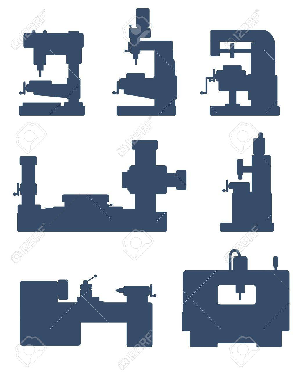 An illustration of set of machine tool icons - 14296494