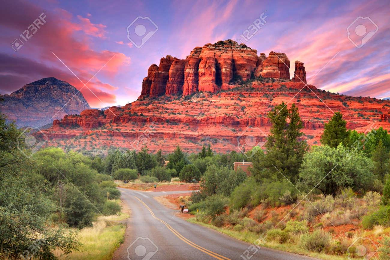 Scenic drive through Sedona Arizona in twilight - 15172258