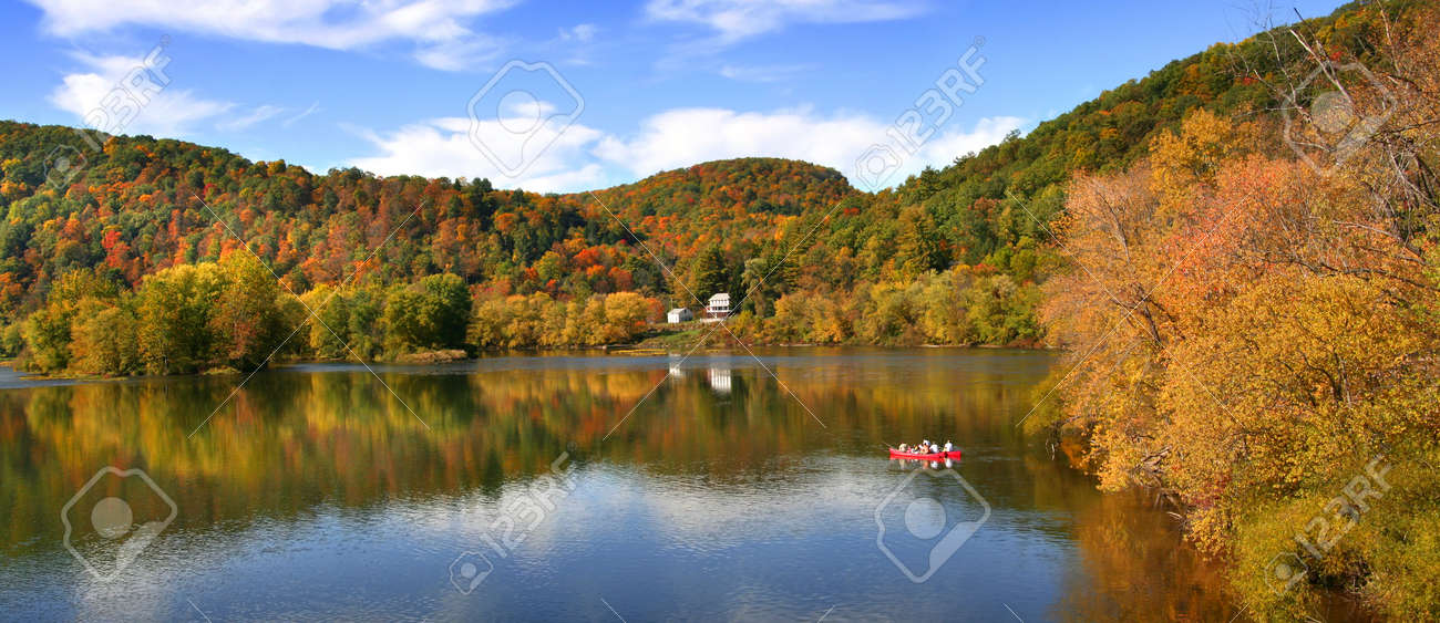 Allegheny river panoramic view near Tidioute in Pennsylvania