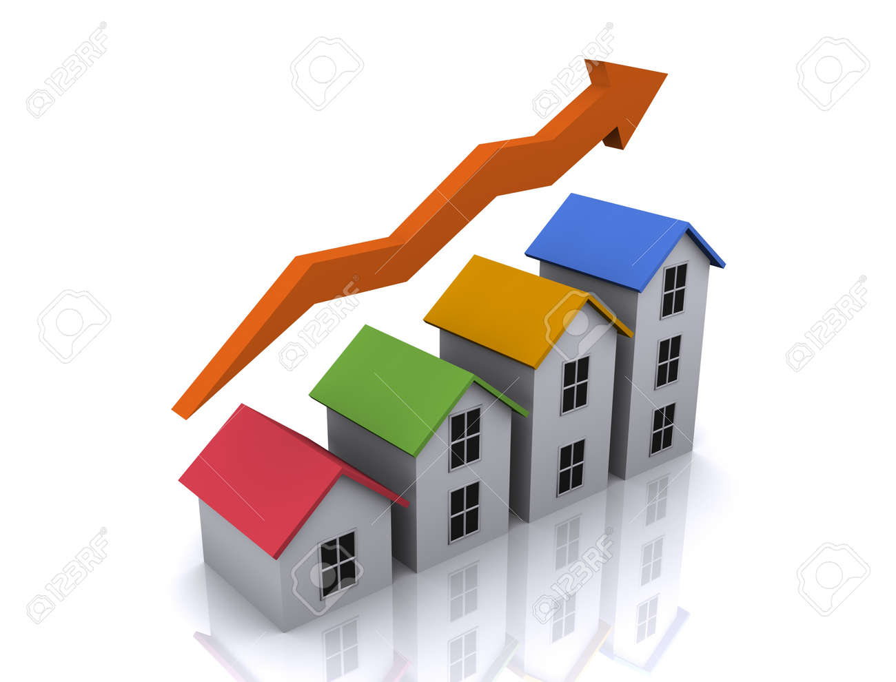 An illustration of 3d real estate icon of growth in housing - 17067882