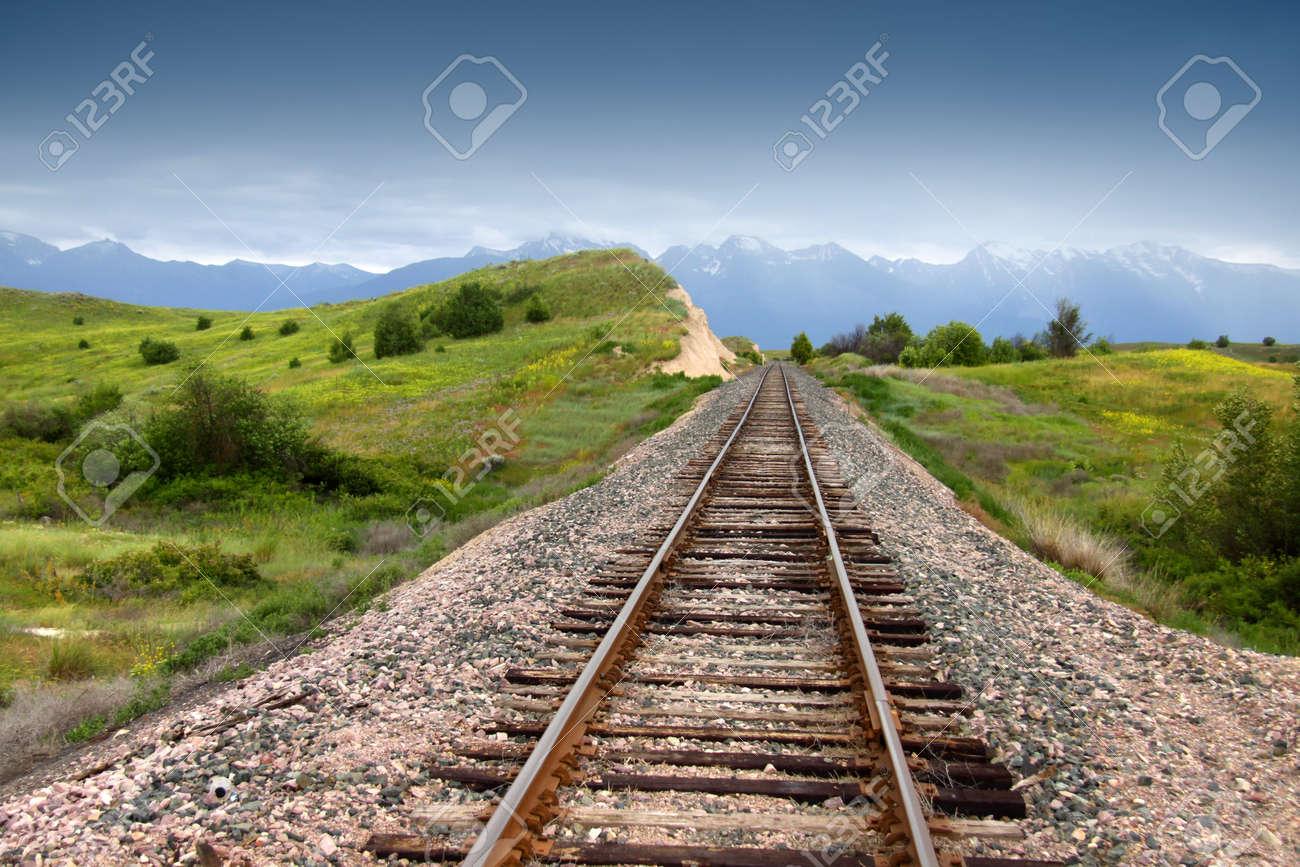Train track in prairie landscape of Montana - 20720612